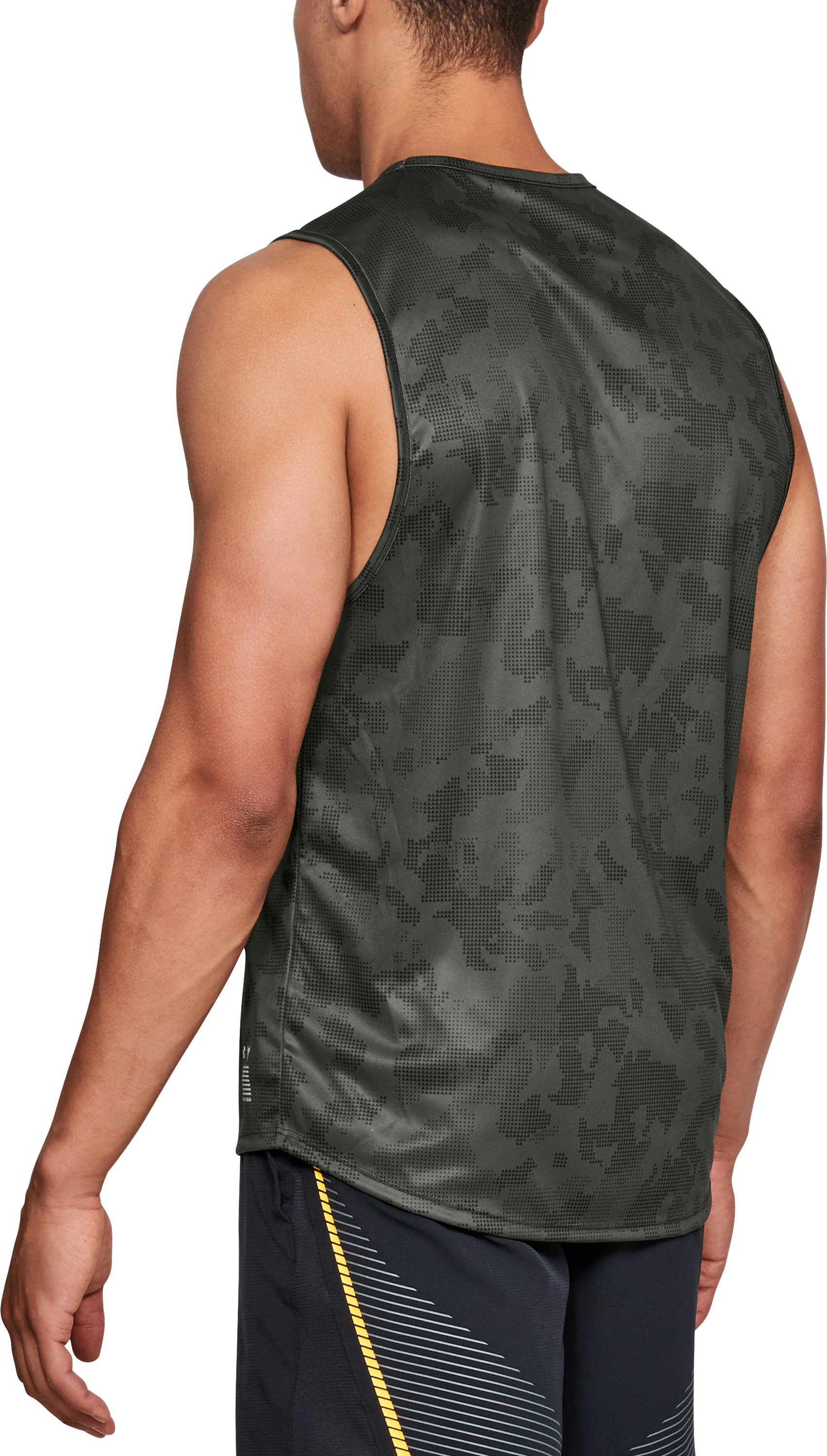 Men's UA x Project Rock Camo Muscle Tank, DOWNTOWN GREEN,