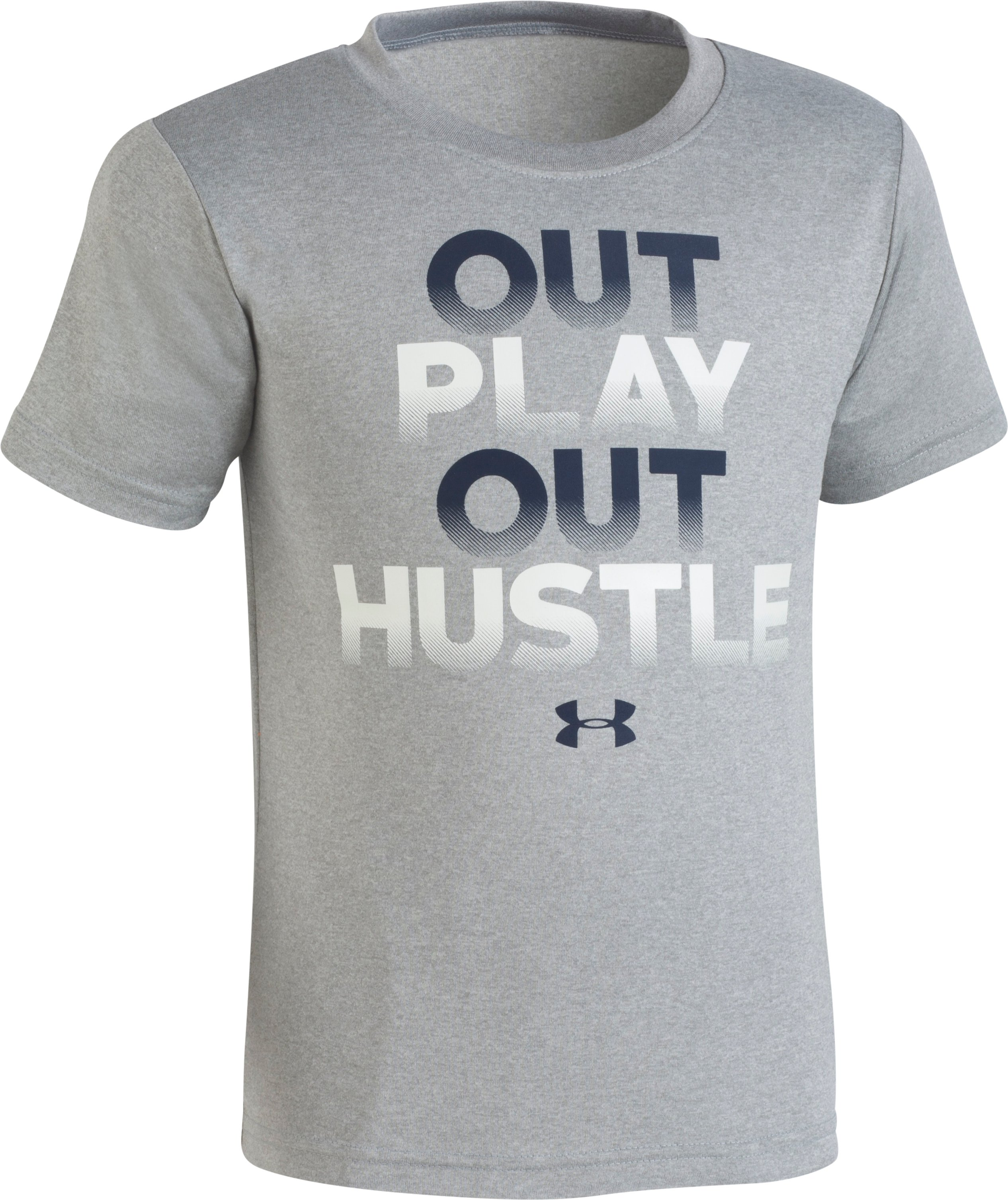 Boys' Pre-School UA Out Play Out Hustle Short Sleeve, STEEL MEDIUM HEATHER, zoomed