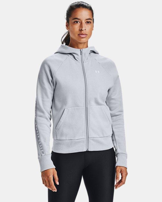 Women's UA Taped Fleece Full Zip, Gray, pdpMainDesktop image number 0