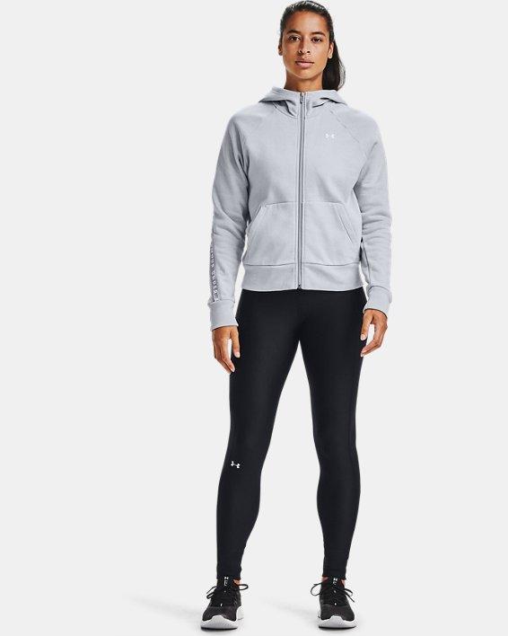 Women's UA Taped Fleece Full Zip, Gray, pdpMainDesktop image number 1