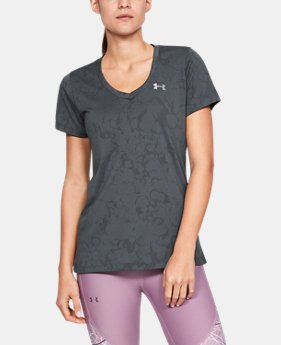 b6e56b55c627 New to Outlet Women s UA Tech™ Short Sleeve V-Neck Marble Jacquard 2 Colors