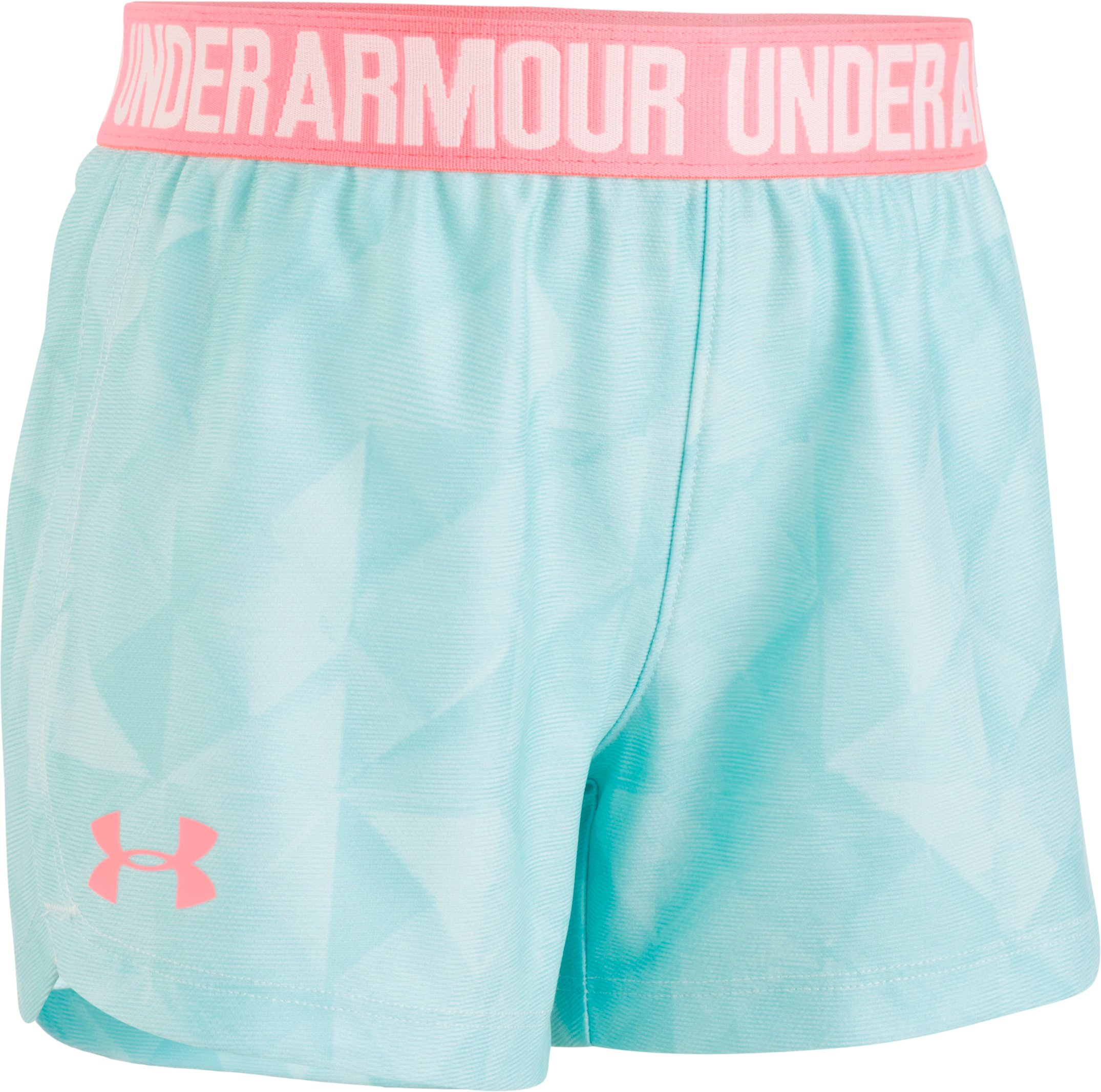 Girls' Pre-School UA Tri-Fold Play Up Shorts, TROPICAL TIDE, Laydown