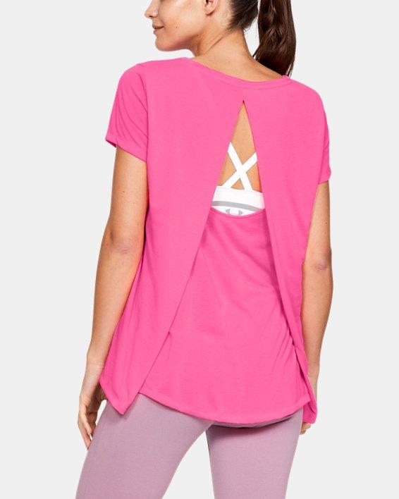 Women's UA Whisperlight Short Sleeve Foldover, Pink, pdpMainDesktop image number 2