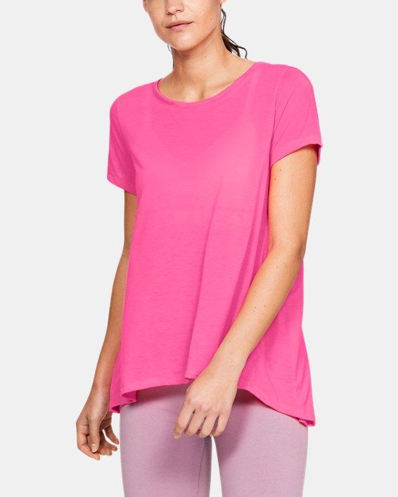 Women's UA Whisperlight Short Sleeve Foldover, Pink, pdpMainDesktop image number 0