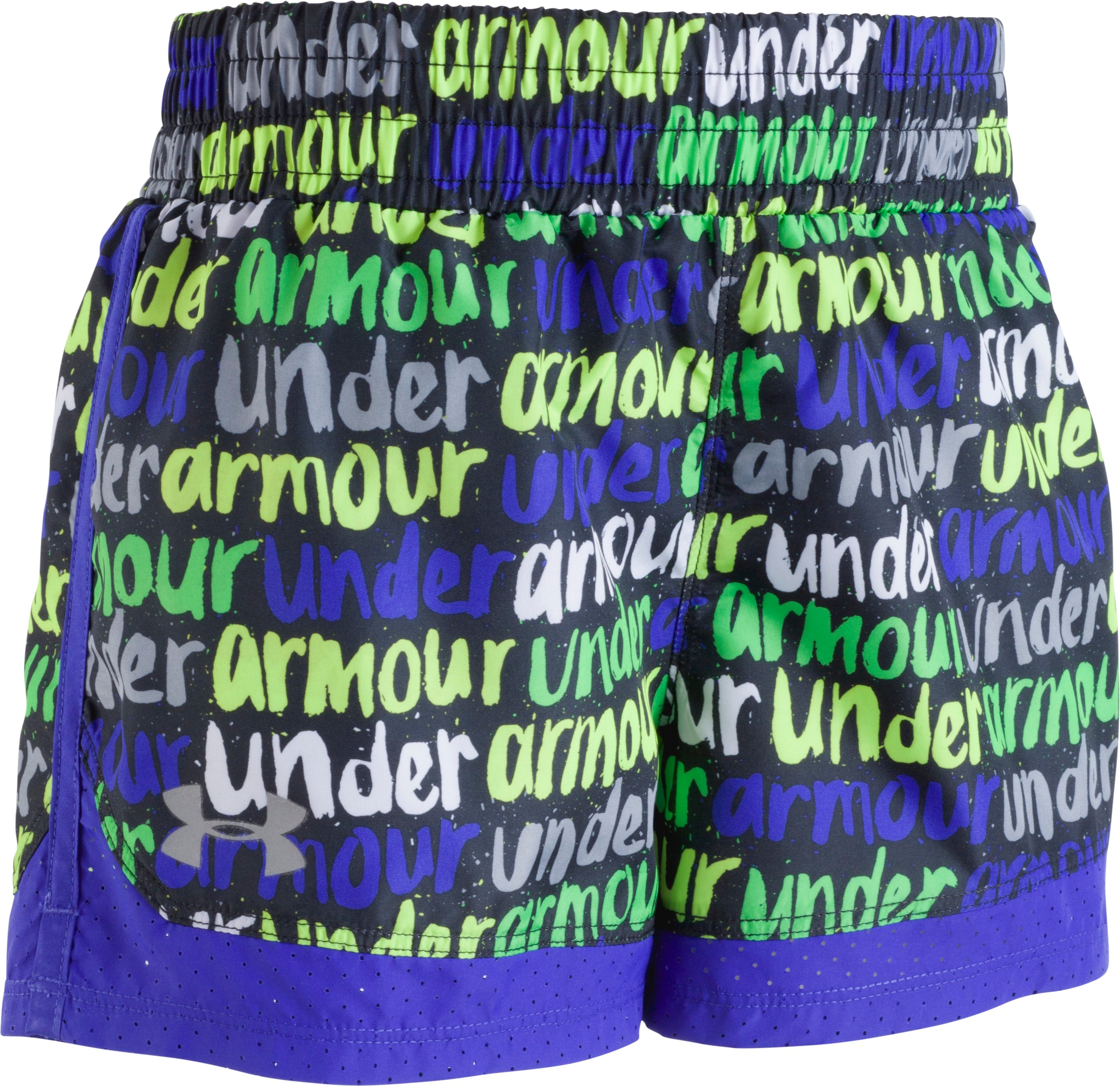 Girls' Pre-School UA Brushmark Run Shorts, Black , Laydown