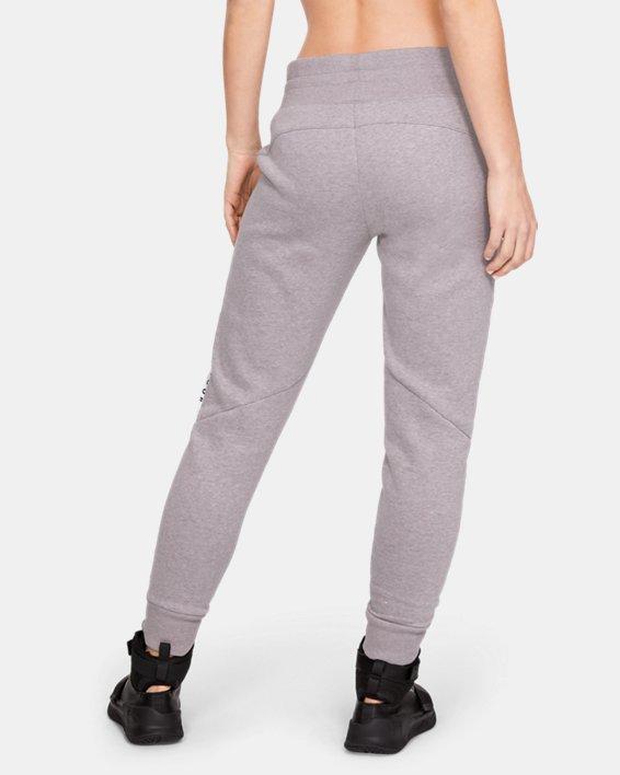 Women's UA Taped Fleece Pants, Gray, pdpMainDesktop image number 2