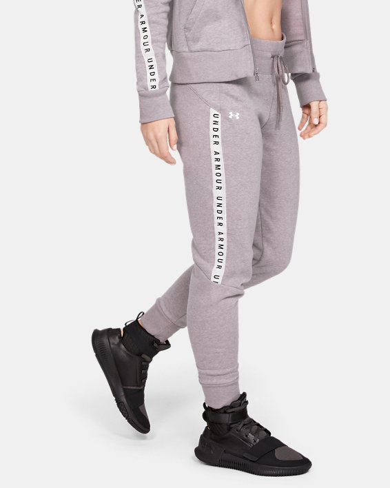Women's UA Taped Fleece Pants, Gray, pdpMainDesktop image number 1