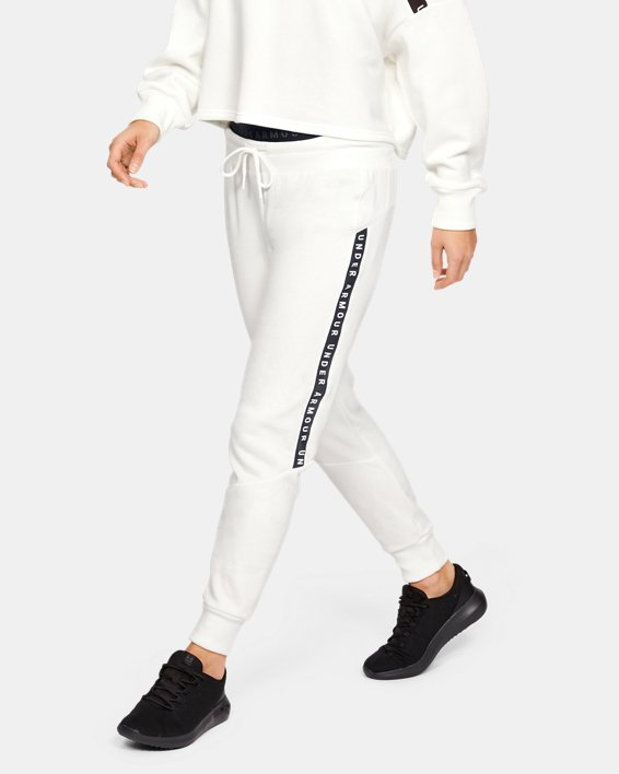 Women's UA Taped Fleece Pants, White, pdpMainDesktop image number 1