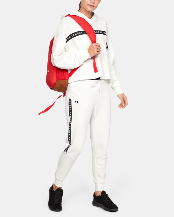 Women's UA Taped Fleece Pants, White, pdpMainDesktop image number 0