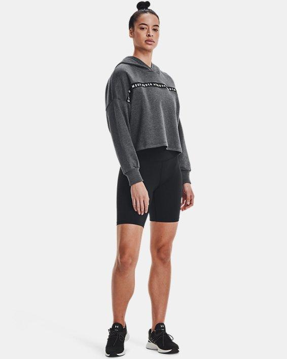 Women's UA Taped Fleece Hoodie, Black, pdpMainDesktop image number 1