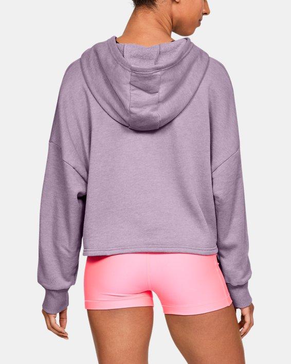 Women's UA Taped Fleece Hoodie, Purple, pdpMainDesktop image number 2