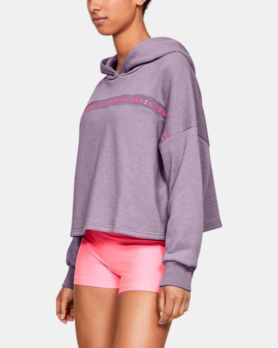 Women's UA Taped Fleece Hoodie, Purple, pdpMainDesktop image number 0