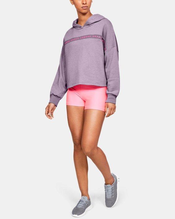 Women's UA Taped Fleece Hoodie, Purple, pdpMainDesktop image number 1