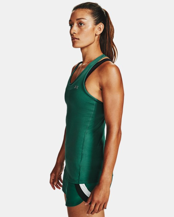Women's HeatGear® Armour Racer Tank, Green, pdpMainDesktop image number 3