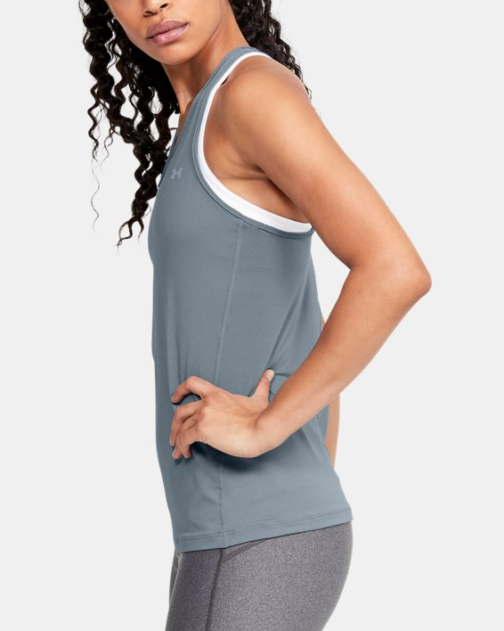 Women's HeatGear® Armour Racer Tank, Green, pdpMainDesktop image number 3