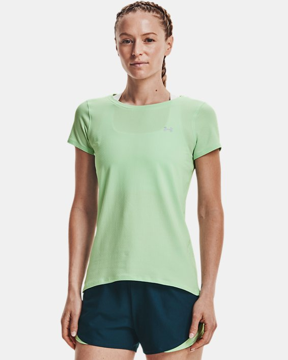 Women's HeatGear® Armour Short Sleeve, Green, pdpMainDesktop image number 0