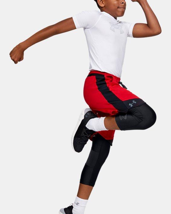 Boys' HeatGear® Armour ¾ Leggings, Black, pdpMainDesktop image number 0