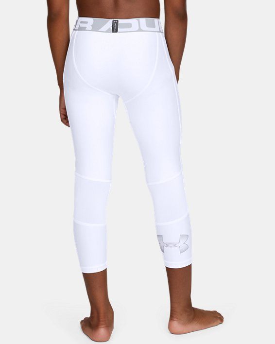 Boys' HeatGear® Armour ¾ Leggings, White, pdpMainDesktop image number 2