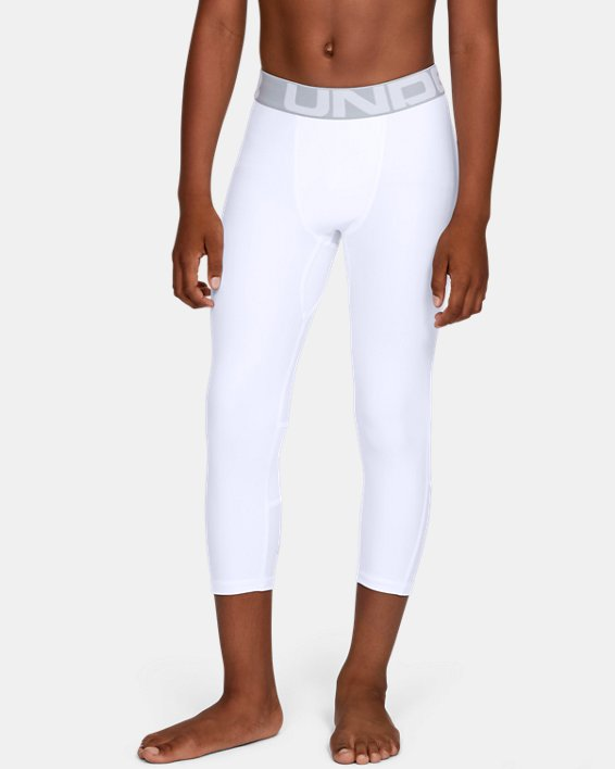 Boys' HeatGear® Armour ¾ Leggings, White, pdpMainDesktop image number 1
