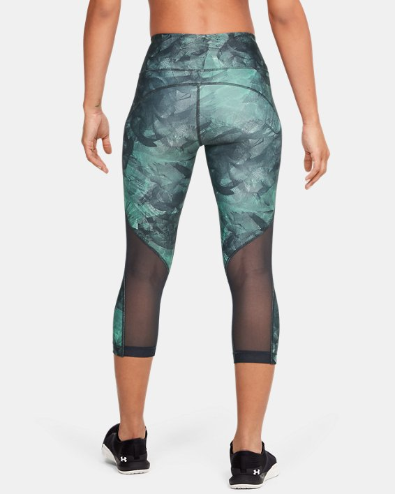 Women's HeatGear® Armour Capri Print, Gray, pdpMainDesktop image number 2