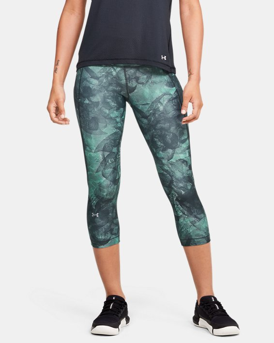 Women's HeatGear® Armour Capri Print, Gray, pdpMainDesktop image number 0