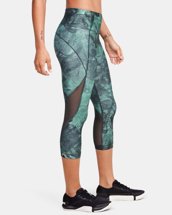 Women's HeatGear® Armour Capri Print, Gray, pdpMainDesktop image number 3