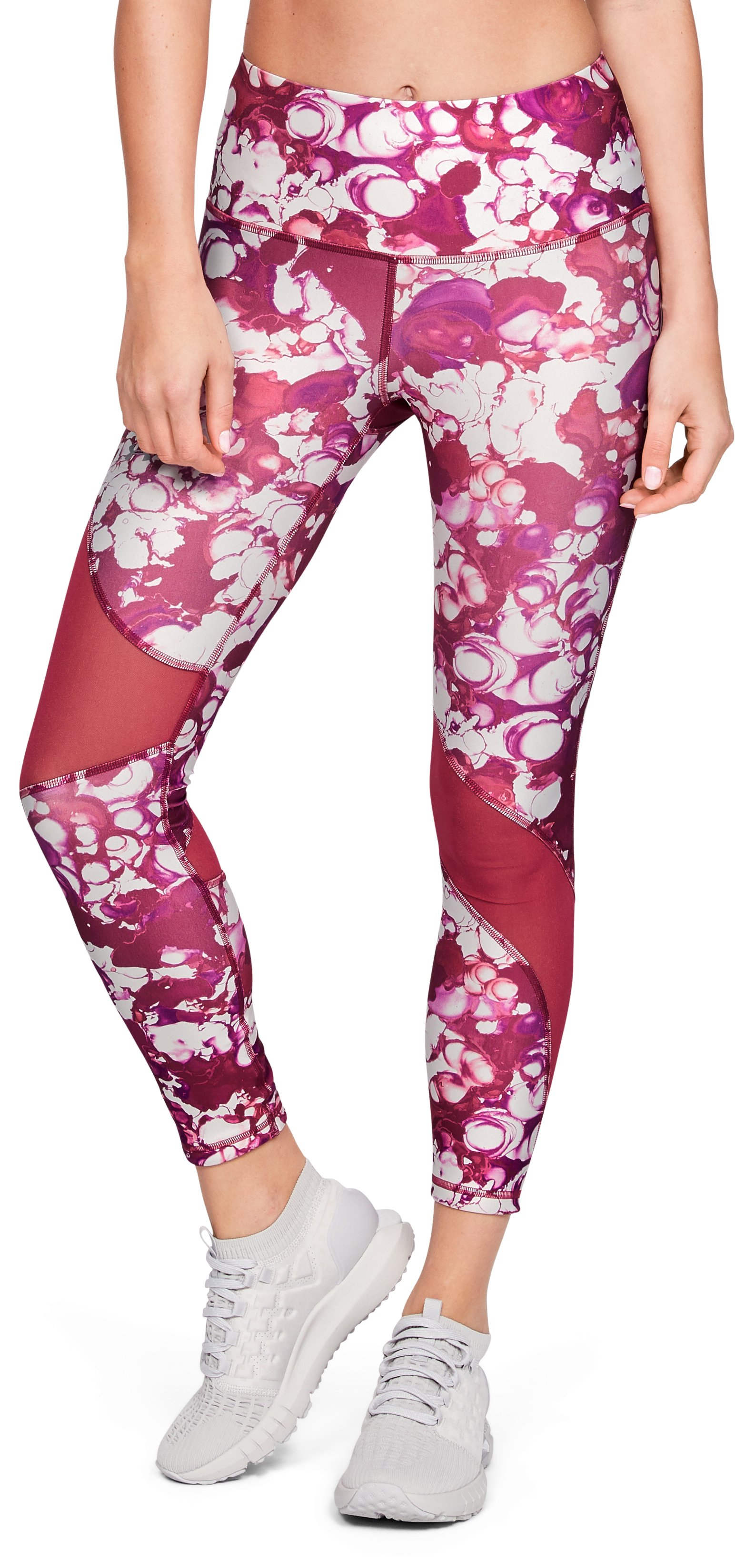 Women's HeatGear® Armour Ankle Crop Print, Impulse Pink, , Impulse Pink, Click to view full size