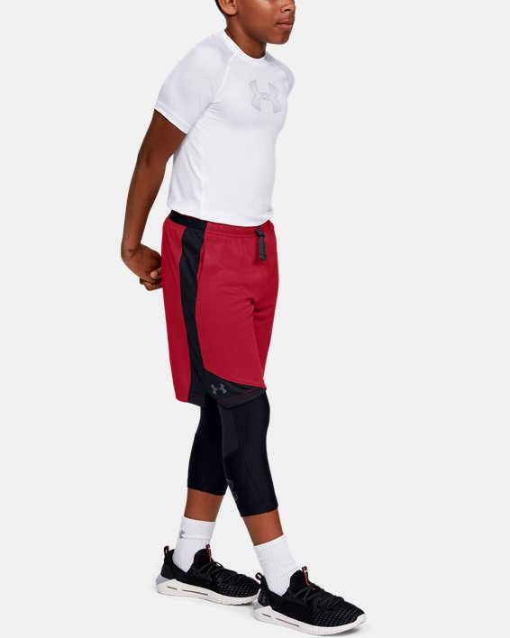 Boys' UA Stunt 2.0 Shorts, Red, pdpMainDesktop image number 0