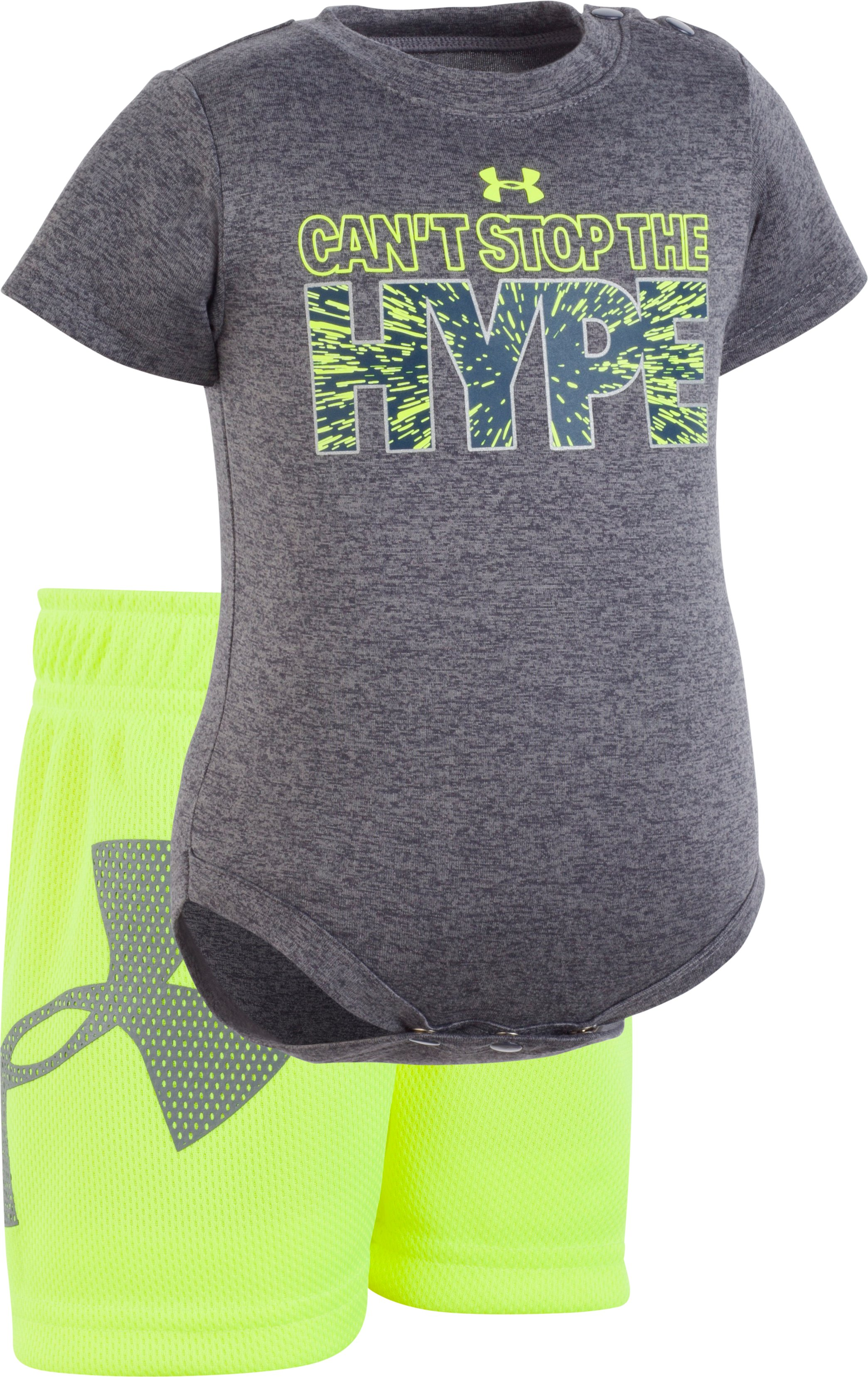 Boys' Newborn UA Can't Stop The Hype Set , Charcoal Medium Heather, zoomed