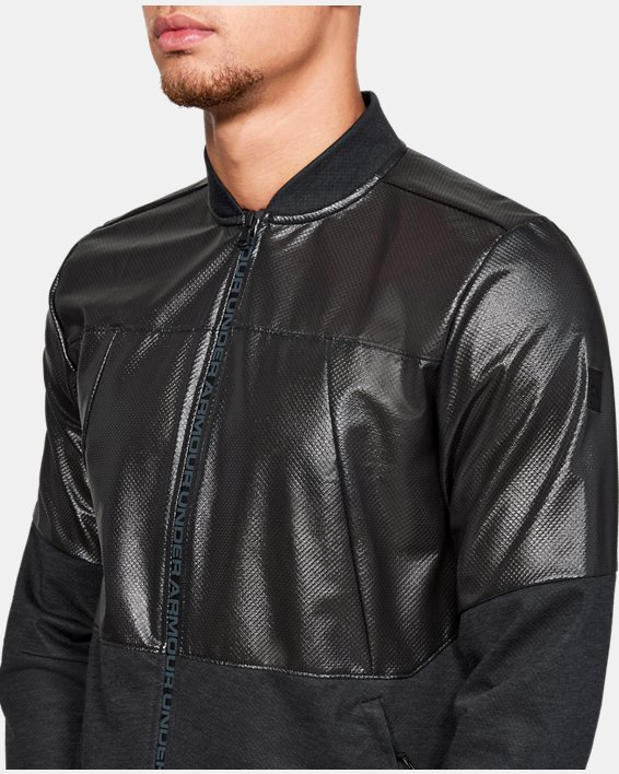 Men's UA Unstoppable Swacket Bomber Jacket, Black, pdpMainDesktop image number 6