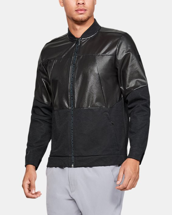 Men's UA Unstoppable Swacket Bomber Jacket, Black, pdpMainDesktop image number 0
