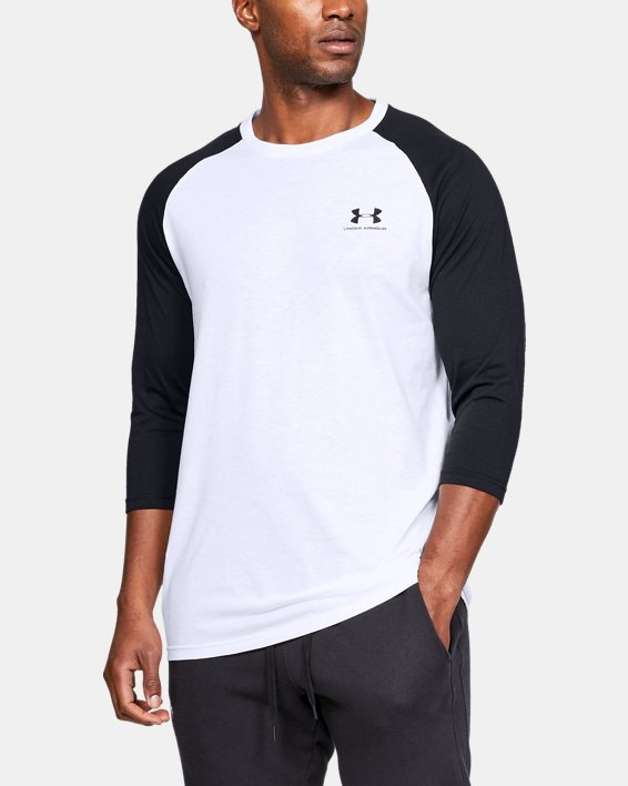 Men's UA Sportstyle Left Chest ¾ T-Shirt, White, pdpMainDesktop image number 0