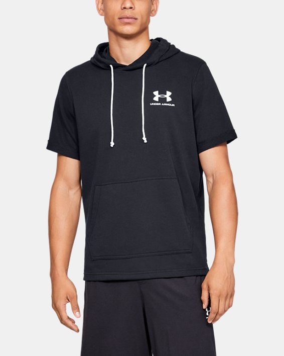 Men's UA Sportstyle Terry Short Sleeve Hoodie, Black, pdpMainDesktop image number 0