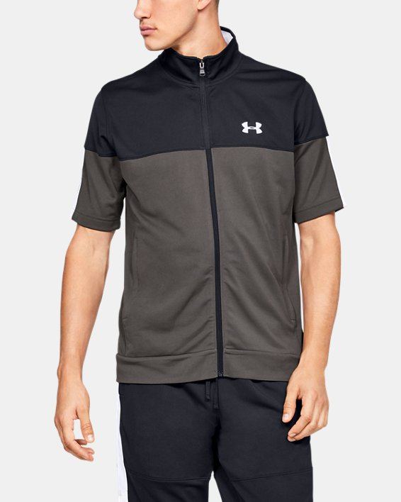 Men's UA Sportstyle Pique Short Sleeve Full Zip, Gray, pdpMainDesktop image number 0