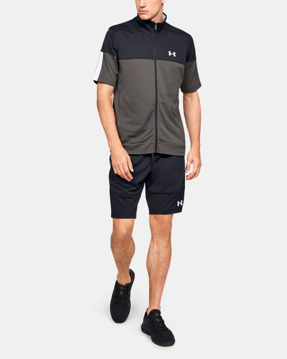 Men's UA Sportstyle Pique Short Sleeve Full Zip, Gray, pdpMainDesktop image number 1