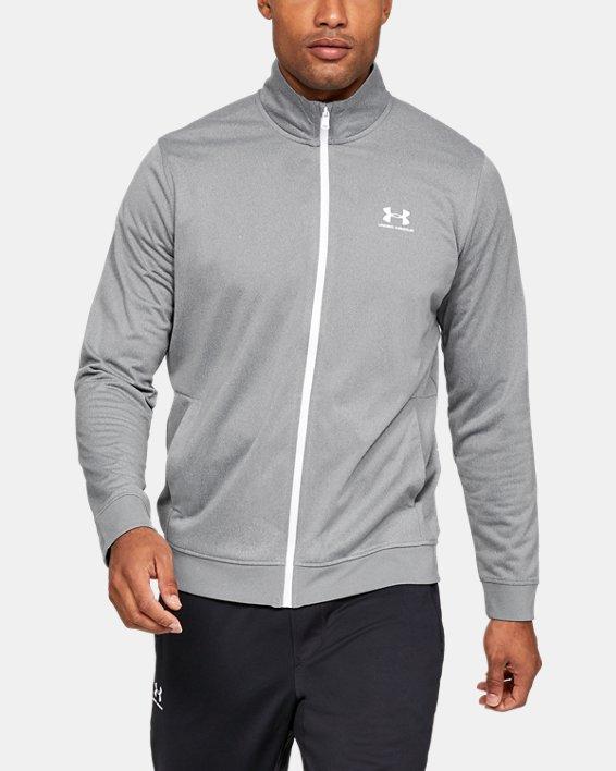 Men's UA Sportstyle Tricot Jacket, Gray, pdpMainDesktop image number 0