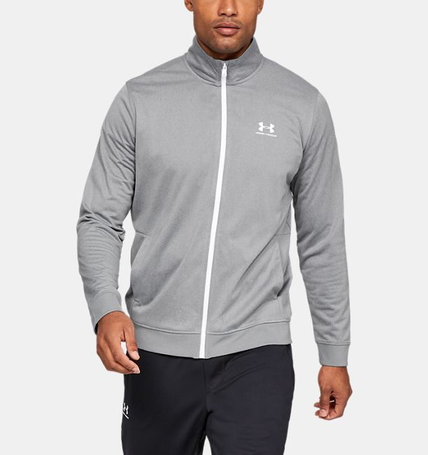 Men's UA Sportstyle Tricot Jacket, STEEL LIGHT HEATHER, , STEEL LIGHT HEATHER, Click to view full size