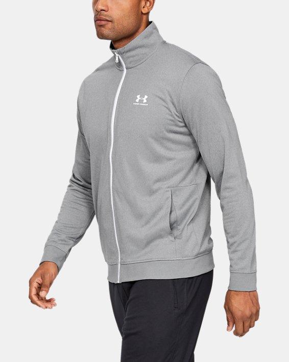 Men's UA Sportstyle Tricot Jacket, Gray, pdpMainDesktop image number 3