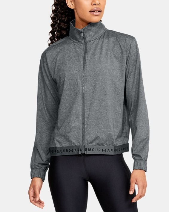 Women's HeatGear® Full Zip, Gray, pdpMainDesktop image number 0