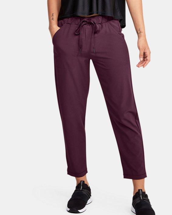 Women's UA Woven Ankle Crop, Purple, pdpMainDesktop image number 0
