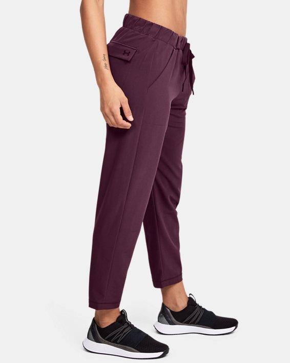 Women's UA Woven Ankle Crop, Purple, pdpMainDesktop image number 3