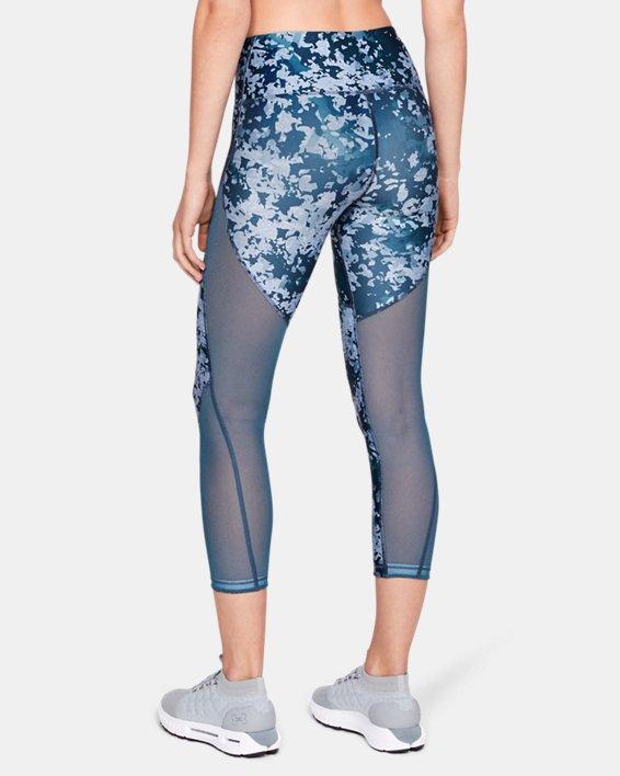 Women's HeatGear® Armour Print Ankle Crop, Blue, pdpMainDesktop image number 0