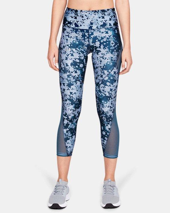 Women's HeatGear® Armour Print Ankle Crop, Blue, pdpMainDesktop image number 2