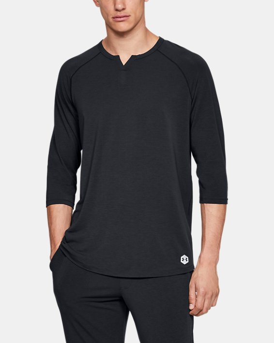 Men's UA RECOVER™ Sleepwear Henley, Black, pdpMainDesktop image number 0