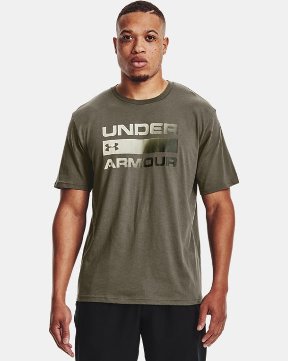 Men's UA Team Issue Wordmark Short Sleeve, Green, pdpMainDesktop image number 0