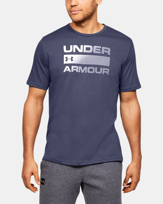 Men's UA Team Issue Wordmark Short Sleeve, Blue, pdpMainDesktop image number 0