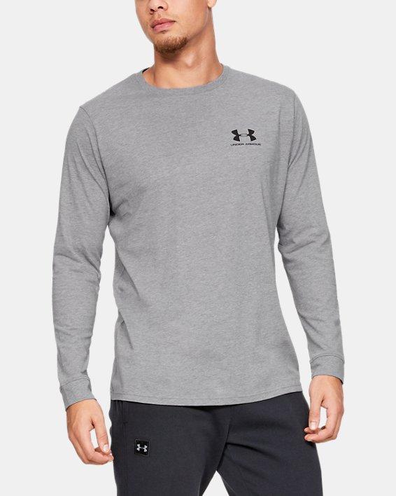 T-shirt à manches longues UA Sportstyle Left Chest pour homme, Gray, pdpMainDesktop image number 0