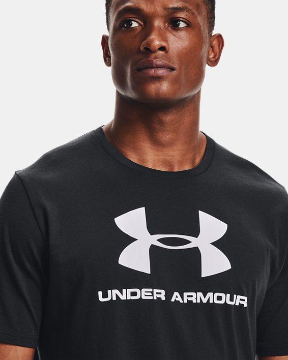 Men's UA Sportstyle Logo Short Sleeve, Black, pdpMainDesktop image number 4