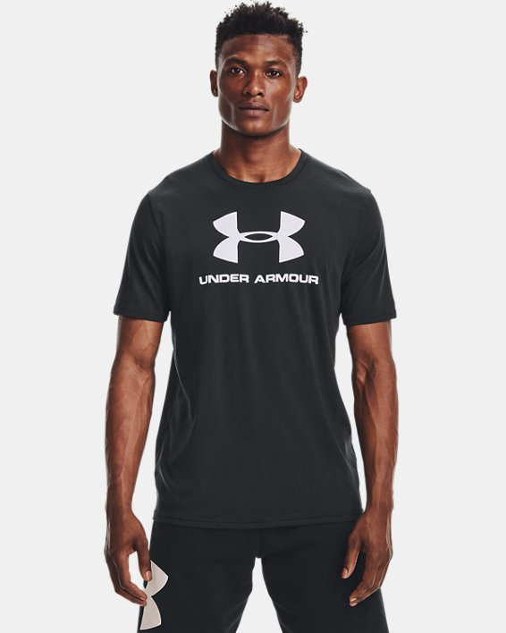Men's UA Sportstyle Logo Short Sleeve, Black, pdpMainDesktop image number 1