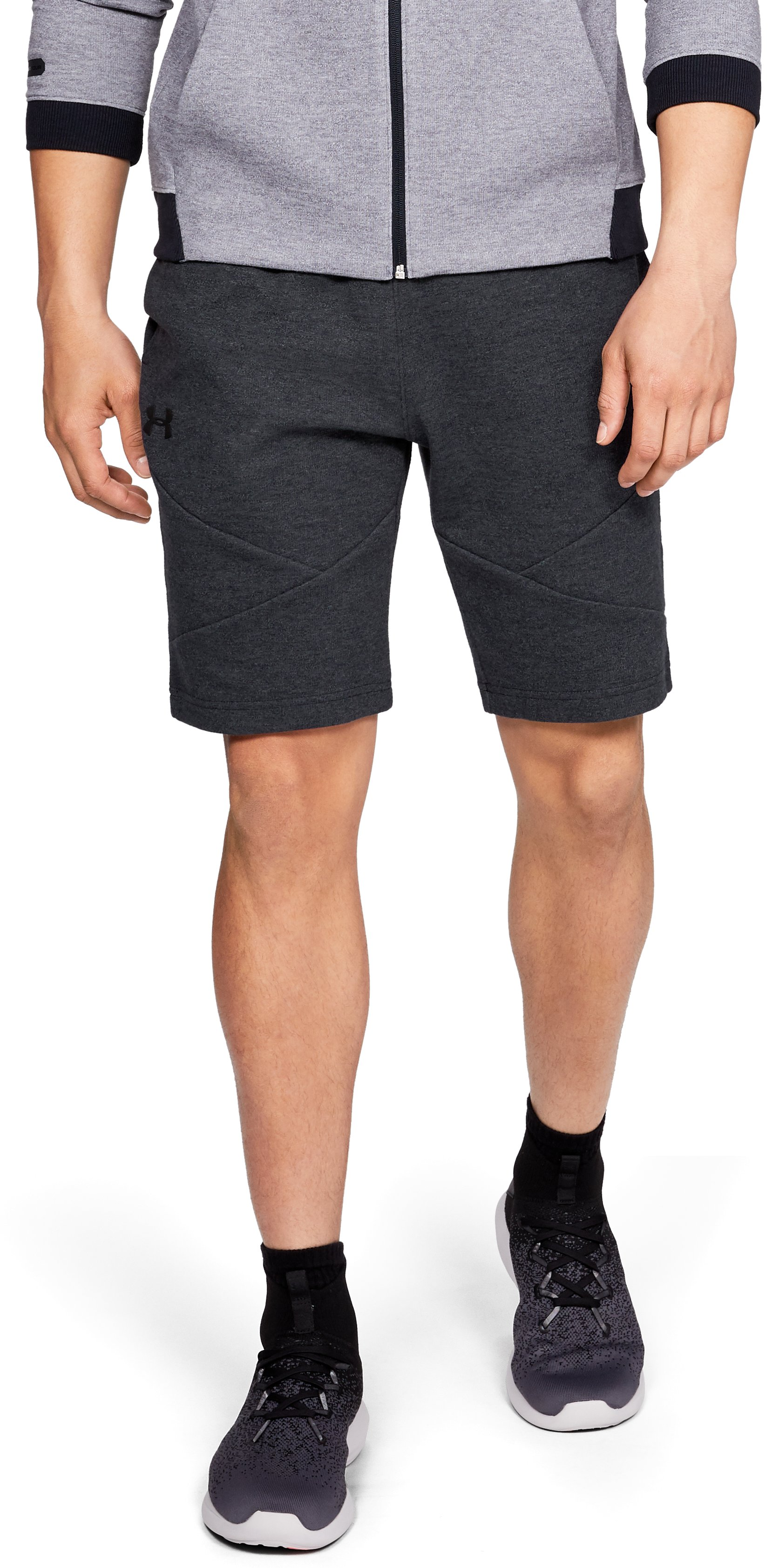 Men's UA Unstoppable Double Knit Shorts, Black , zoomed
